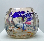 ANTIQUE Czech Bohemian Blown Glass Paperweight Faceted Flowers