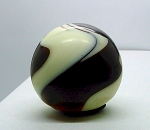SOLD - - VINTAGE GEAR SHIFT KNOB SWIRL SLAG GLASS 30'S DARK BURGUNDY OXBLOOD