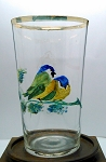 SOLD - - Antique Moser Bohemian German Painted Enameled Drinking Glass