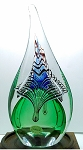 SOLD - - Magnum Signed Jablonski Lead Crystal Teardrop Paperweight Poland