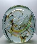 SOLD - - Robert Held Art Glass Contemporary Signed Abstract Paperweight