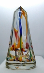 SOLD - - Vintage Czech Bohemian Blown Glass Paperweight Devils Fire Obelisk