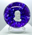 SOLD - - St. Clair Studio Glass Paperweight Vintage Ulysses S Grant  Sulphide Signed
