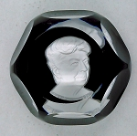 SOLD -  Baccarat Faceted Crystal Sulfide Vintage Paperweight Eleanor Roosevelt Signed