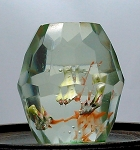 SOLD - - Early Chinese Art Glass Paperweight Faceted Barrel Fish Tank Aquarium