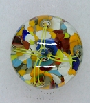 Vintage Art Glass Paperweight Fountian with Controlled Bubbles multi color frit