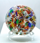 SOLD -  Early Chinese Paperweight Art Glass Millefiore Scramble Copy of St. Louis