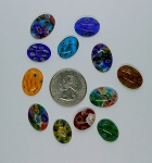 12pcs. Flat Backed  millefiori 18x13mm  Glass Cabochons mosaic art embellishment L10