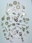 50pc. Bulk Lot of Antique Silver Charms mixed tibetan style shapes sizes and styles  L113
