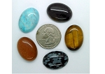 5pc. Lot Seconds Closeout Cabochon Lot Semi Precious 25x18mm Flat Back Cabachon Stones READ DESCRIPTION L149