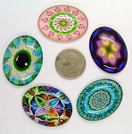5pc. Mixed Lot 40x30mm Glass kaleidoscope Pattern Cabochons Low Dome Flat Back Cabs L152
