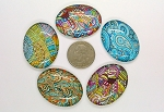 5pc. Mixed Lot 40x30mm Glass kaleidoscope Pattern Cabochons Low Dome Flat Back Cabs L153