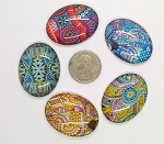 5pc. Mixed Lot 40x30mm Glass kaleidoscope Pattern Cabochons Low Dome Flat Back Cabs L154