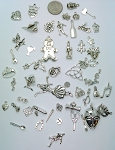 50pc. Bulk Lot of Antique Silver Charms mixed tibetan style shapes sizes and styles  L155