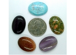 5pc. Lot Seconds Closeout Cabochon Lot Semi Precious 25x18mm Flat Back Cabachon Stones READ DESCRIPTION L160