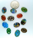 12pcs. Flat Backed  millefiori 18x13mm Glass Cabochons mosaic art embellishment L19