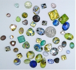 50pcs. Flat Backed Glass Cabochons foiled infused multi color swirl mixed size and shape L1