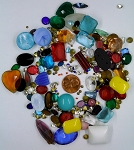 Vintage Glass Rhinestone Jewelry Repair Lot Loose foiled unfoiled mixed stones L25
