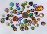 50pcs. Flat Backed Glass Cabochons foiled infused multi color swirl mixed size and shape L2