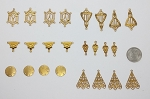Raw Brass Filigree 24pc. Lot Victorian Vintage Style American Drop or Connector Stampings L41