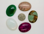 5pc. Seconds Closeout Cabochon Lot Semi Precious 40x30mm Flat Back Cabachon Stones READ DESCRIPTION L45