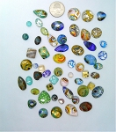 50pcs. Flat Backed Glass Cabochons foiled infused multi color swirl mixed size and shape L51