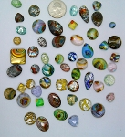 50pcs. Flat Backed Glass Cabochons foiled infused multi color swirl mixed size and shape L57
