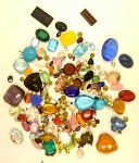 Vintage Glass Rhinestone Jewelry Repair Lot Loose foiled unfoiled mixed stones L59