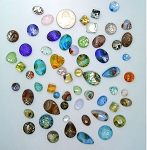 50pcs. Flat Backed Glass Cabochons foiled infused multi color swirl mixed size and shape L62