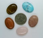 5pc. Lot Seconds Closeout Cabochon Lot Semi Precious 25x18mm Flat Back Cabachon Stones READ DESCRIPTION L73