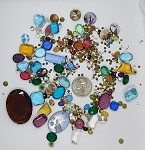 Vintage Glass Rhinestone Jewelry Repair Lot Loose foiled unfoiled mixed stones L85