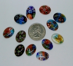 12pcs. Flat Backed  millefiori 18x13mm  Glass Cabochons mosaic art embellishment L9