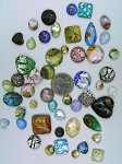 50pcs. Flat Backed Glass Cabochons foiled infused multi color swirl mixed size and shape L3