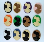 Afro Centric Cameo 25x18mm African American Resin Cameo SET of 12 pcs.