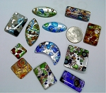 12pcs. Of handmade lampwork silver foiled milifiori glass pendant pieces S2071