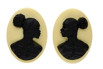 25x18mm Matched Pair African American Resin Cameo Black Ivory Afro Ethnic Black Jewelry S2094