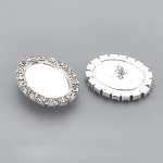 18x13mm Sew on Silver rhineston button setting mount or frame with shank S2096