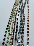 12 feet Rhinestone Chain Pieces Mixed Color Vintage Swarovski Cut Crystal Strips Cup Chain S2119