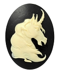 40x30mm Mythological Unicorn Resin Cameo Creme on Black Cabochon S2124