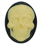 40x30mm Sugar Skull Calavera Mexican Day of the Dead Black Ivory Resin Cameo