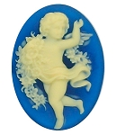 40x30mm Royal Blue Angel Cherub Resin cabachon Cameo S2128