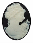 40x30mm Black and White Woman with Short Hair Resin Cameo cabochon  S2129