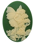 40x30mm Green Ivory Resin Little Girl Nymph Fairy Cameo Cabochon S2136