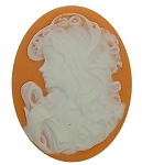 40x30mm Light Orange and White Woman with Scarf Resin Cameo Cabochon S2138