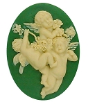 40x30mm three cherubs green creme resin cameo religious heavenly heaven S2140