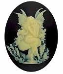 40x30mm Black Ivory Resin Fairy Princess Cameo Cabochon S2142