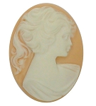 40x30mm Light Peach and White Pony Tail Woman Resin Cameo S2146