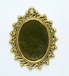 25x18mm Antique gold cameo cabochon pendant setting S2149