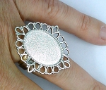 Silver Adjustable Ring 18x13mm Blank glue in ring setting  jewelry finding S2152