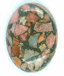 40x30mm Red Pink Matrix Collage Stone cabochon loose flat back  S2154E